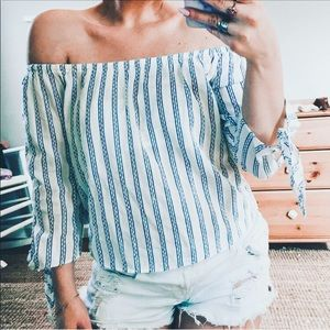 Thread & supply off shoulder stripe top blue white